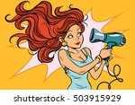 redhead comics woman dries the... | Shutterstock .eps vector #503915929