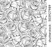 Stock vector seamless monochrome pattern flowers roses gray paint 503927989