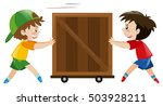 two boys pushing wooden box... | Shutterstock .eps vector #503928211