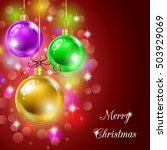 background with christmas balls ... | Shutterstock . vector #503929069