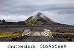 Wooden Bridge In Iceland On...