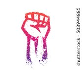 fist held high in protest  hand ... | Shutterstock .eps vector #503944885