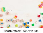 top view on wooden cubes with... | Shutterstock . vector #503945731