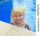 happy little girl in a swimming ... | Shutterstock . vector #50395270