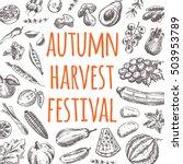 autumn harvest festival card...   Shutterstock .eps vector #503953789