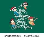 children playing music on merry ... | Shutterstock .eps vector #503968261
