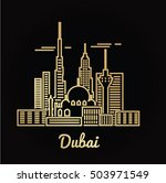 dubai city golden architecture... | Shutterstock .eps vector #503971549