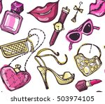 hand drawn patter. fashion... | Shutterstock .eps vector #503974105