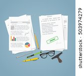 heap of financial documents.... | Shutterstock .eps vector #503974279