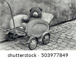 old dirty teddy bear toy... | Shutterstock . vector #503977849