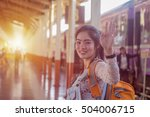 young asian girl say goodbye at ... | Shutterstock . vector #504006715