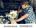 carpenter craftsman lumber... | Shutterstock . vector #504008425