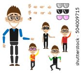 hipster in various positions in ... | Shutterstock .eps vector #504009715