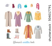 women's winter look. set of... | Shutterstock .eps vector #504017791