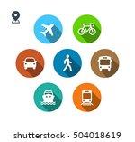 transport color icons. walk man ... | Shutterstock .eps vector #504018619