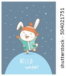 card with cute cartoon hare in...
