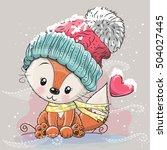cute cartoon fox in a knitted... | Shutterstock .eps vector #504027445