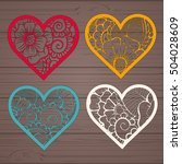 set stencil lacy hearts with... | Shutterstock .eps vector #504028609