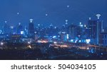 city with connected line ... | Shutterstock . vector #504034105