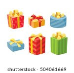 vector christmas gifts | Shutterstock .eps vector #504061669
