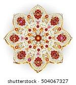 mandala brooch jewelry  design... | Shutterstock .eps vector #504067327