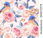 vintage roses and birds vector... | Shutterstock .eps vector #504073579