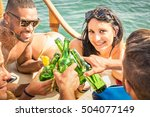 multiracial people on yacht... | Shutterstock . vector #504077149