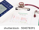 Stock photo vitals sign chart medical graphs and measuring blood pressure with red stethoscope on white 504078391