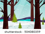 winter forest. nature landscape.... | Shutterstock .eps vector #504080359