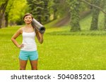 beautiful woman with a yoga mat ... | Shutterstock . vector #504085201