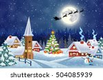a house in a snowy christmas... | Shutterstock .eps vector #504085939