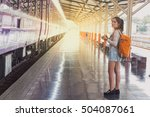 backpack and camera at the... | Shutterstock . vector #504087061