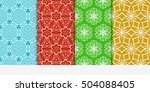 set of seamless floral color... | Shutterstock .eps vector #504088405