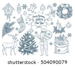 set of hand drawn  christmas... | Shutterstock .eps vector #504090079