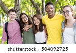 diverse group young people... | Shutterstock . vector #504092725