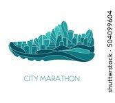 city marathon. running  sport ... | Shutterstock .eps vector #504099604
