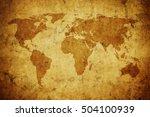 grunge map of the world   Shutterstock . vector #504100939