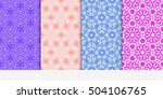 set of seamless floral color...   Shutterstock .eps vector #504106765