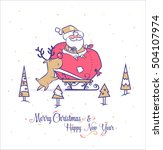 funny santa illustrations.... | Shutterstock .eps vector #504107974
