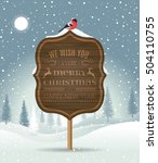 signboard with christmas... | Shutterstock .eps vector #504110755