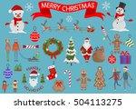 christmas elements set. vector... | Shutterstock .eps vector #504113275