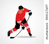 ice hockey player hits the puck ... | Shutterstock .eps vector #504117697