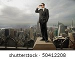 Businessman Standing On The To...