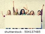 girls friendship arms raised... | Shutterstock . vector #504137485