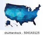 polygonal map of usa   Shutterstock .eps vector #504143125