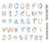 pixel text and pixel alphabet.... | Shutterstock .eps vector #504148789