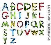 pixel text and pixel alphabet.... | Shutterstock .eps vector #504148795