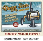 vintage deep sea fishing poster ... | Shutterstock .eps vector #504150439