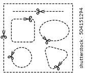 set of coupon borders  scissors.... | Shutterstock .eps vector #504151294