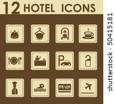 hotel icons set in retro style  ...